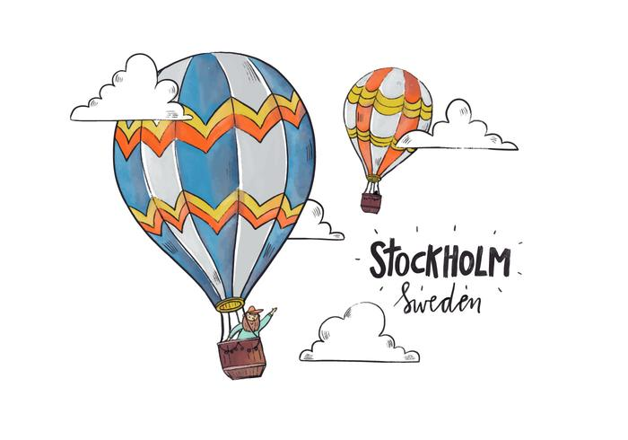 Stockholm Colorful Hot Air Balloon With Clouds Vector