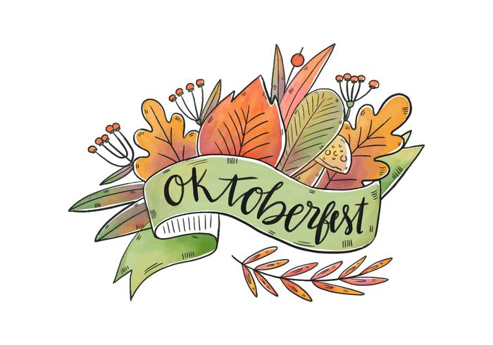 Vector Watercolor Colorful Leaves for Oktoberfest