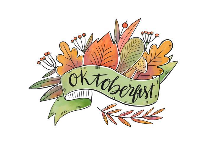 Vector Aquarell Blumen Blätter für Oktoberfest