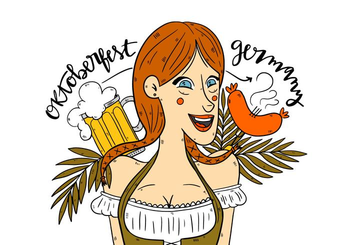 Leuke Duitse Oktoberfest Meisje Vector