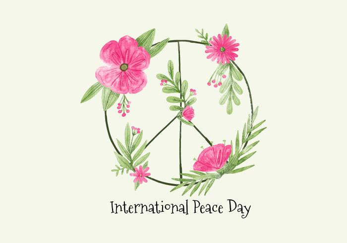 Vector Watercolor Symbol Peace With Flowers for Peace Day
