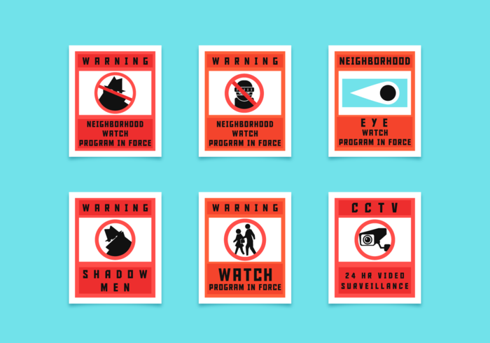 Neighborhood Watch Signs Vector Pack