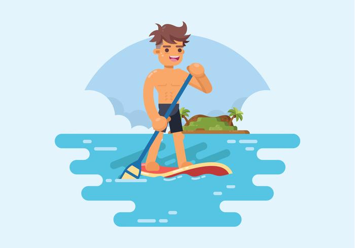 Man Standing on Paddle Board Vector