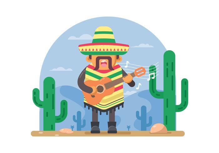 homme mexicain gratuit jouant à l'illustration de guitare