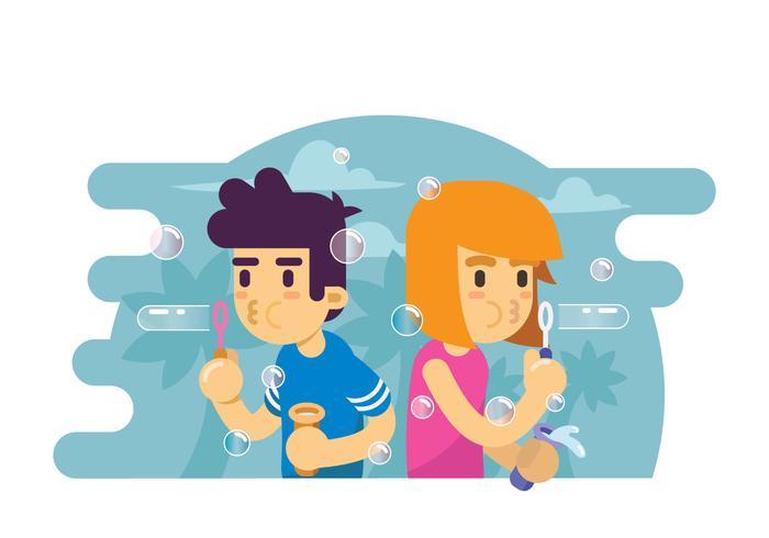 Due bambini che giocano l'illustrazione della bolla di sapone