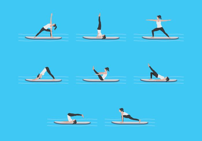 Yoga Workout On Paddleboard Vectors