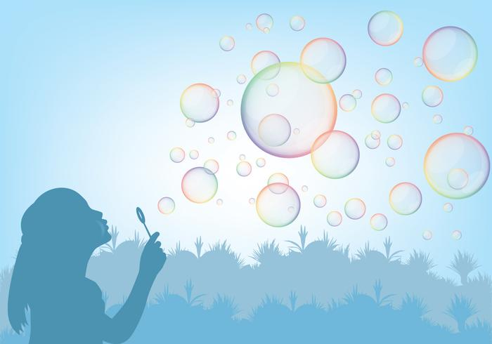 Girl Playing With Bubble Blower Vector
