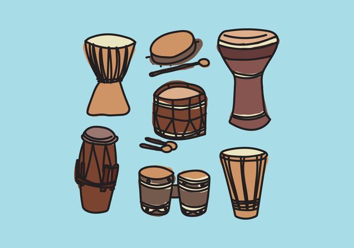 Vecteurs de tambours colorés vecteur