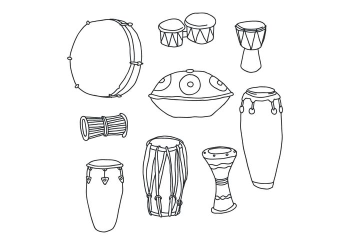 Set Of Hand Drawn Drum Vectors