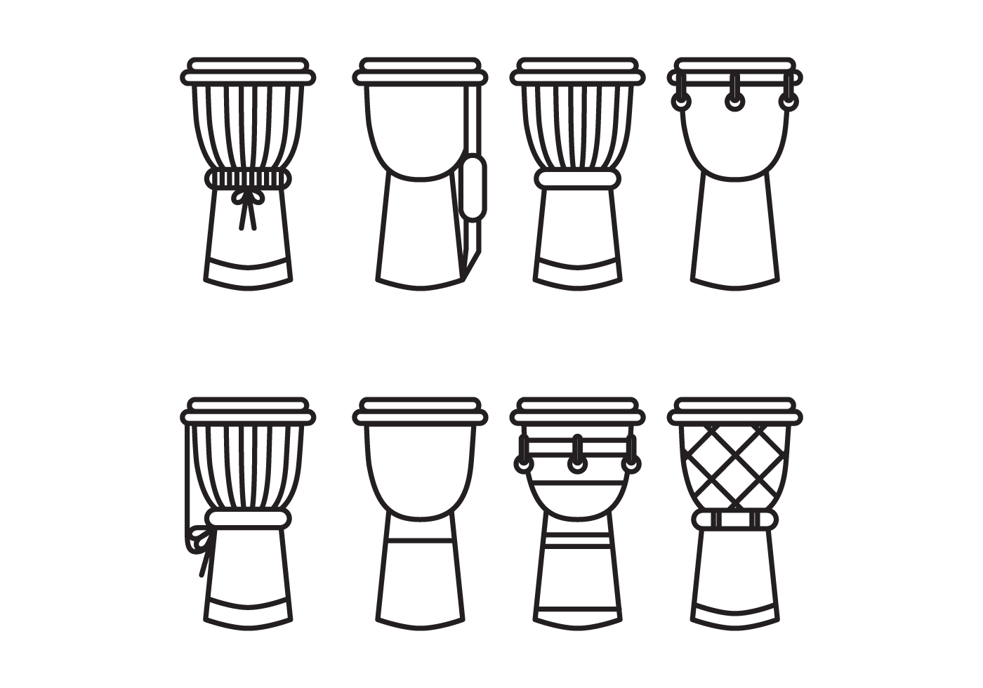 Black & White Djembes - Download Free Vector Art, Stock ...