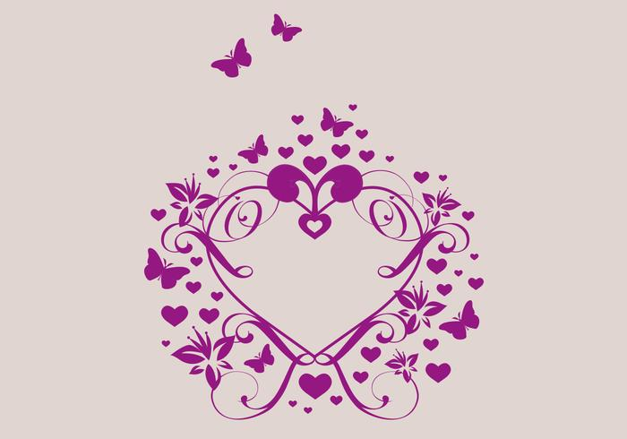 Heart with Flowers and Butterflies Vector