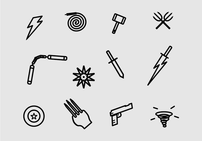 Super Heroes Weapons And Symbol