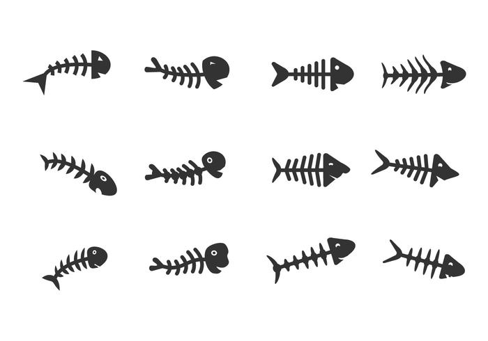 Fishbone impostato su sfondo bianco