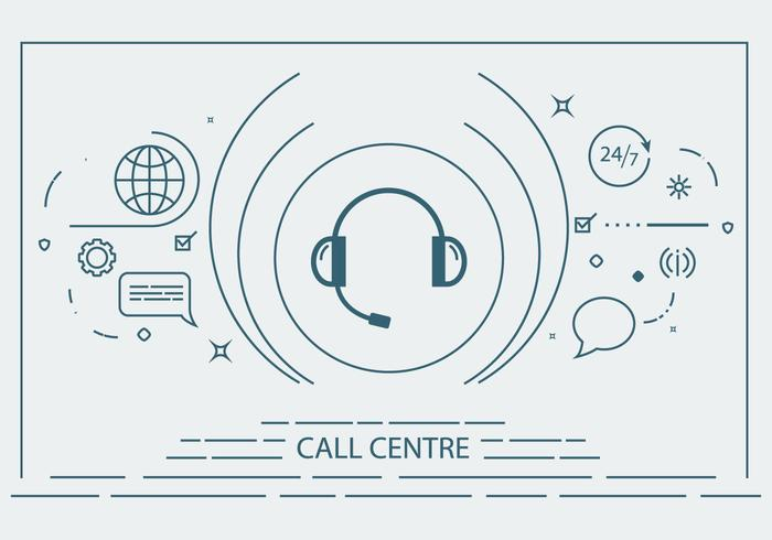 Call Centre Flat Line Vector