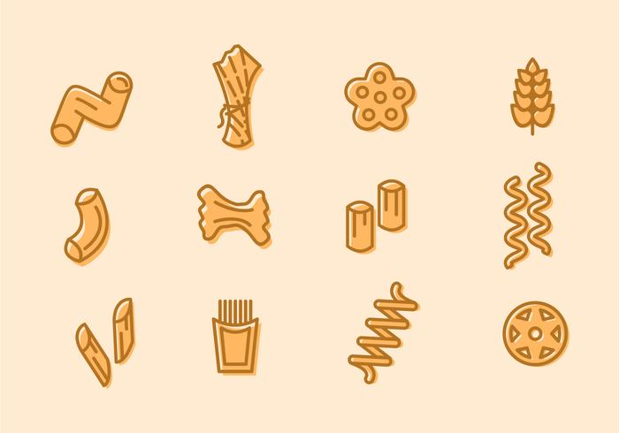 Pasta Various Doodle Icons