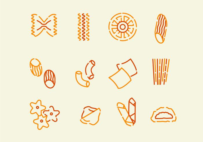 Ícone variado de macarrão