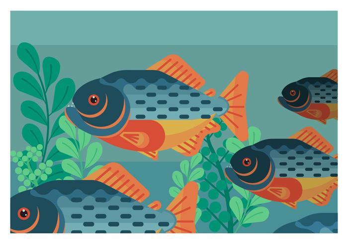 Piranha Flat Geometric Vector Illustration