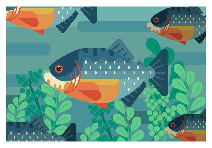 Piranha Flat Geometric Vector Illustration
