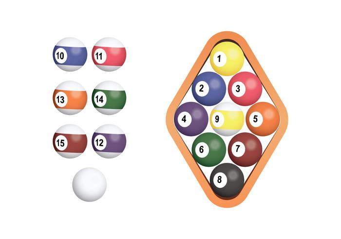9 Ball Rack Isolated Over White Background