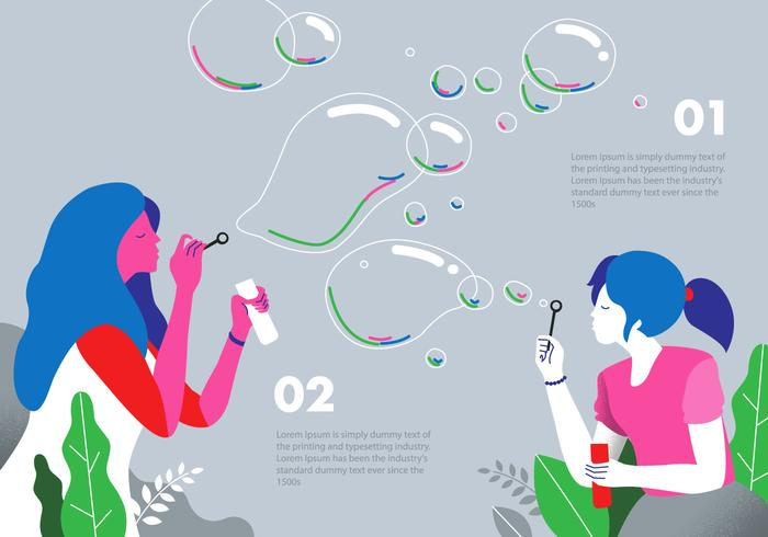 Bubble Blower Background Vector Flat Illustration