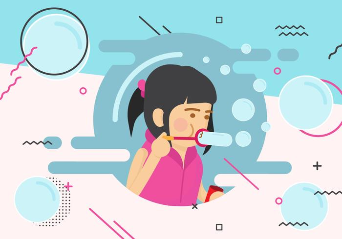 Funky Little Girl Blowing Bubbles Vector Illustration