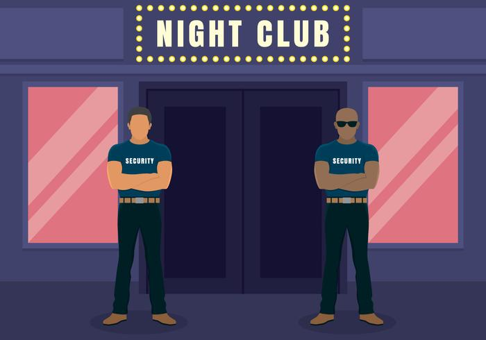 Two Big Bouncers Standing Outside The Entrance To The Night Club Illustration
