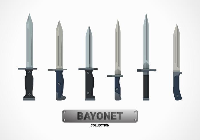 Bayonet Flat Vector Illustration Collection