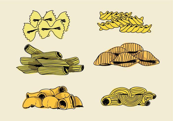 Illustrazione disegnata a mano di vettore dell'ingrediente dei maccheroni