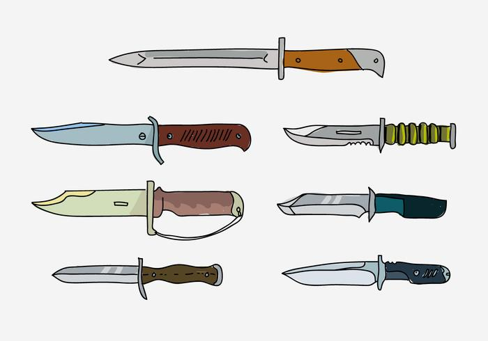 Army Bayonet Collection Hand Drawn Vector Illustration