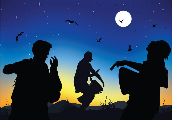Playing Djembe Silhouette Free Vector
