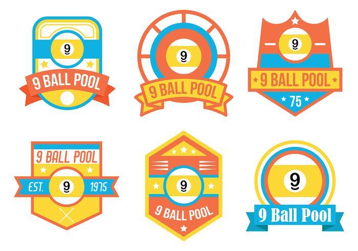 9 insignias del vector de la bola