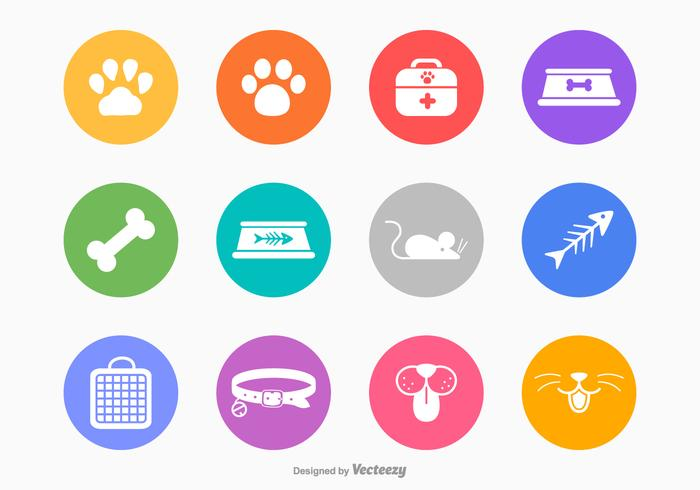 White Silhouette Cat And Dog Vector Icons