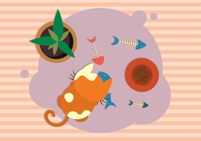 Gato con la ilustración de la espina de pez
