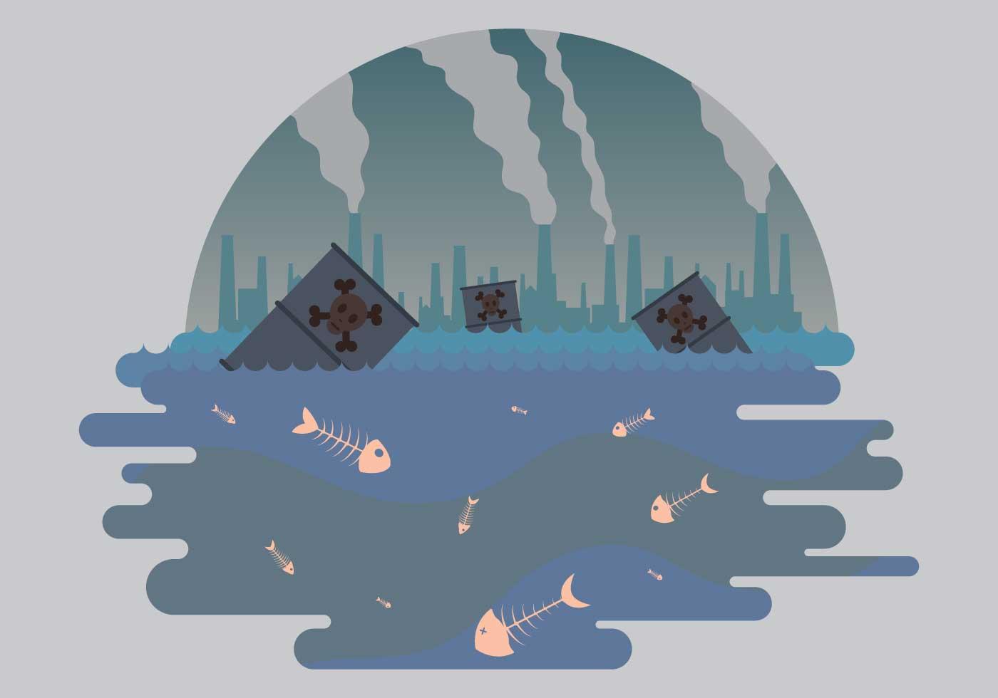 Tote Fische und Verschmutzung Illustration - Kostenlose Vektor-Kunst ...