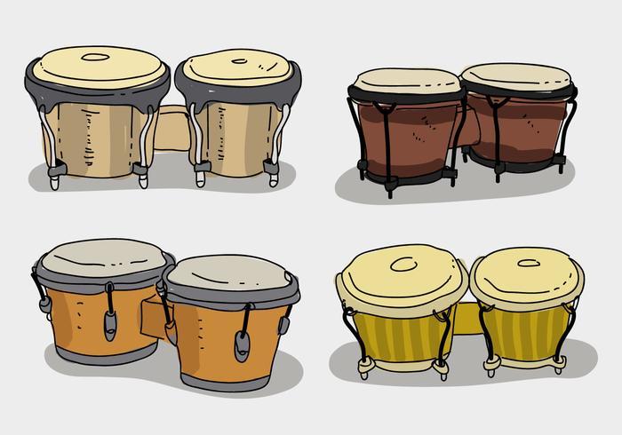 Étnico, bongo, Colección, mano, dibujado, vector