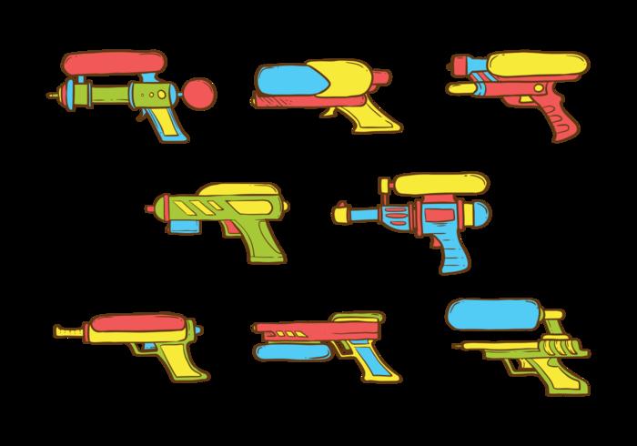 Vecteur d'icônes d'arme à eau