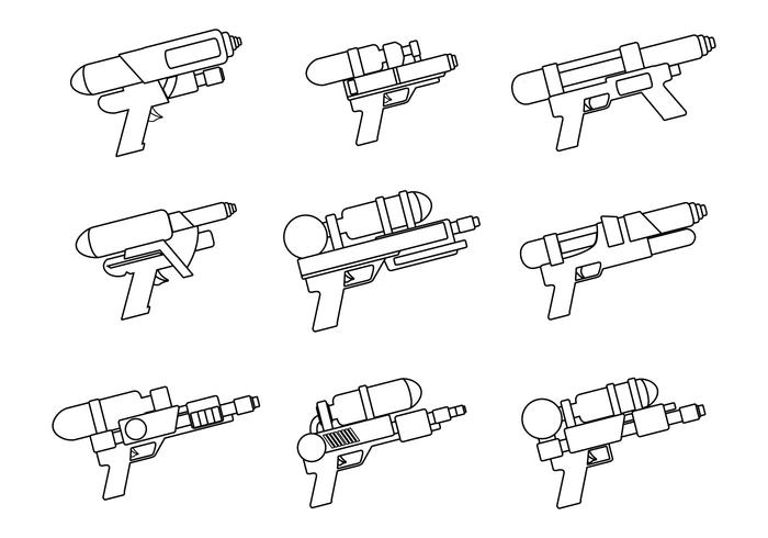 Watergun Line Art set