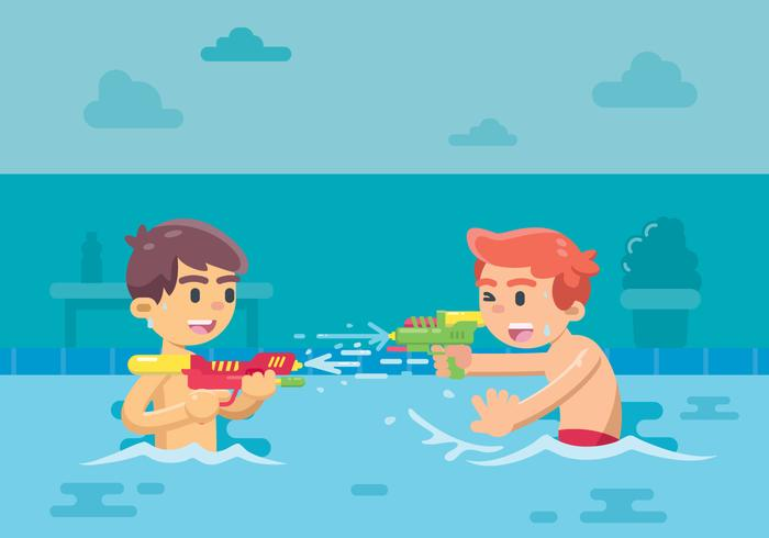 Two Kids Playing Watergun At The Pool