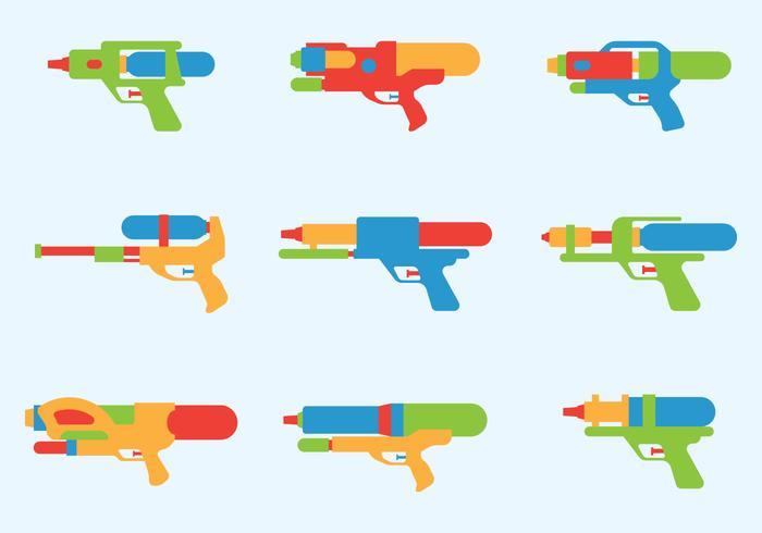 Icônes de dessin animé d'armes à eau