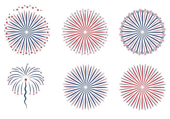 Patriotische Feuerwerk Weißer Hintergrund Vektor