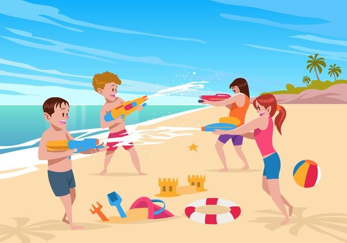 Beach Watergun Fight Vector