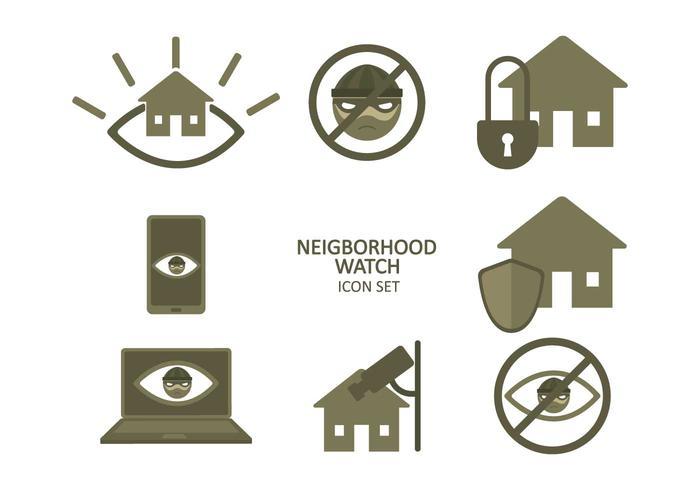 Ensemble d'icônes de surveillance de quartier gratuit