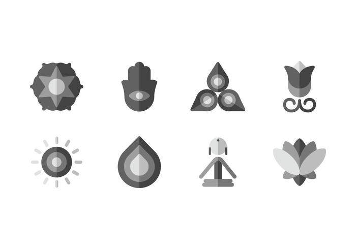 Meditation yoga set icons