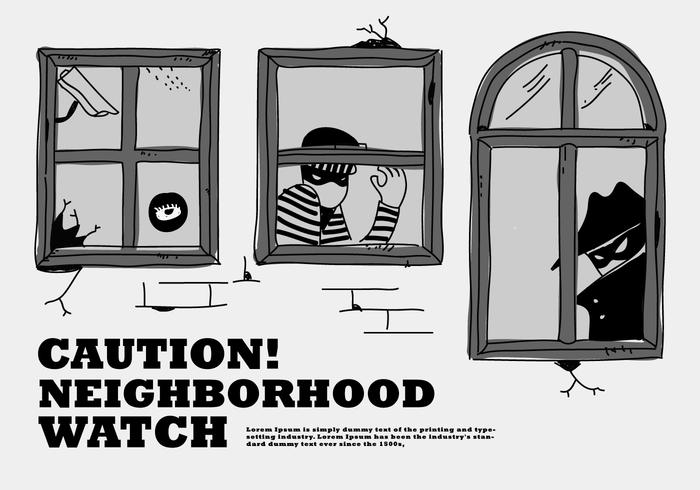 Robbery  Neighborhood Watch At Window Vector Illustration