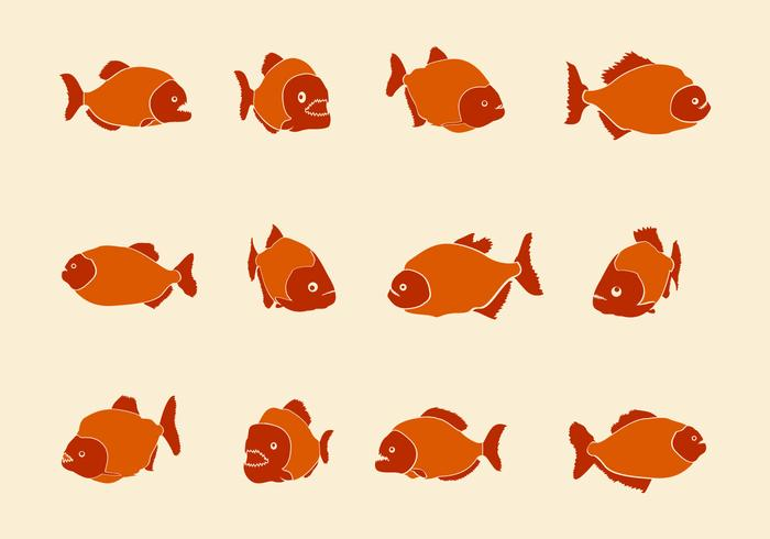 Piranha Handdrawn Vector Icons