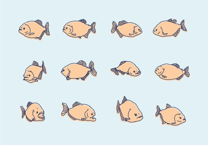 Piranha Handdrawn Pictogrammen vector