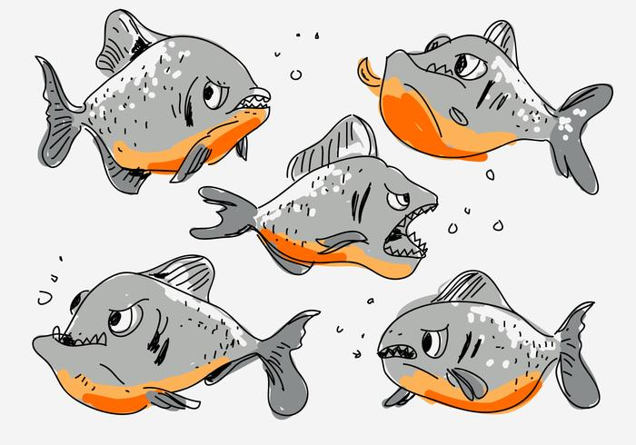 Wild Angry Piranha Hand Drawn Cartoon Vector Illustration