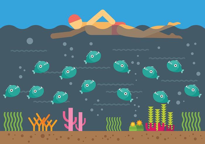 Swimming Over Piranhas Vector Illustration