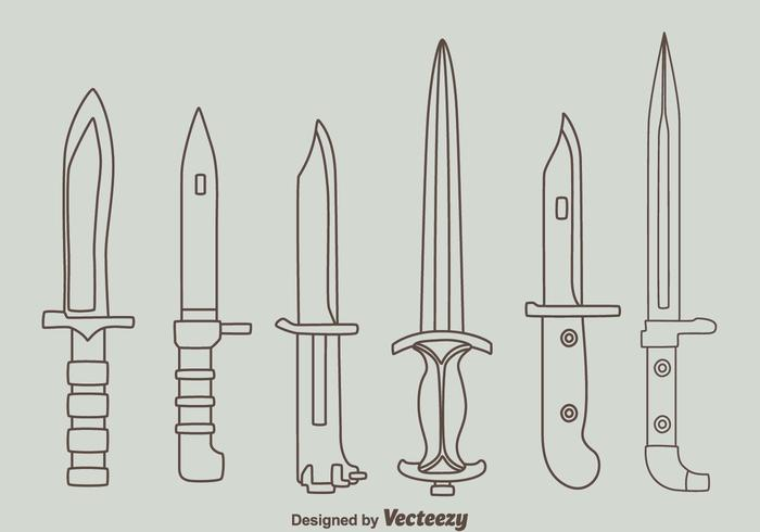 Bayonet Knife Line Collection Vector