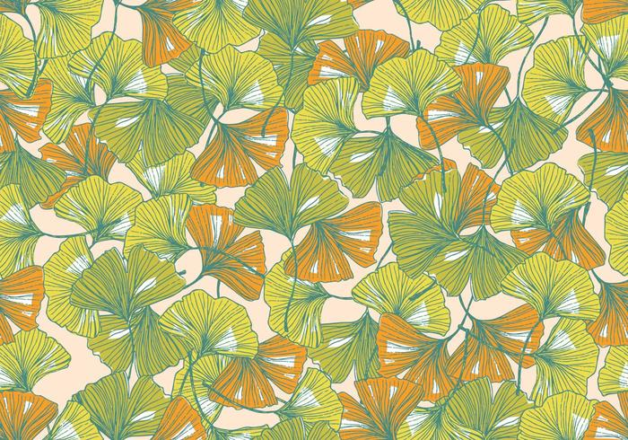ginkgo seamless pattern vector
